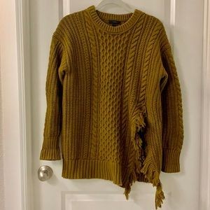 J. Crew Cable Knit Sweater with Fringe